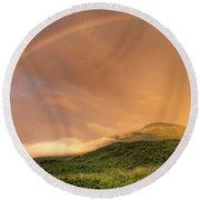 A Rainbow Appeared Over Mt. Washington Round Beach Towel