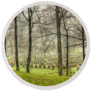A Rainy Day At The Cemetery Round Beach Towel