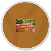 A Red And Yellow River In Colombia Round Beach Towel