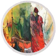 A Red Dog In Morocco Round Beach Towel