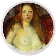 A Red-haired Model Round Beach Towel by William James Glackens