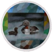 A Red-throated Diver And The Chick Round Beach Towel