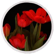A Red Tulip Day Round Beach Towel