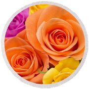 A Riot Of Roses Round Beach Towel