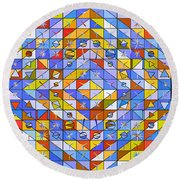 A Riot Of Shapes Round Beach Towel