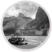 A Roadster In The Rockies Round Beach Towel