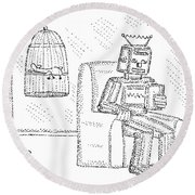 A Robot Sits Reading In A Chair Round Beach Towel