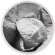 A Rock In A Hard Place. Round Beach Towel