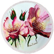 A Rose Is A Rose Round Beach Towel by Karin  Dawn Kelshall- Best
