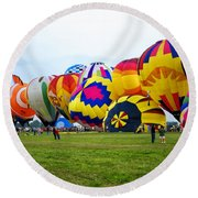 A Row Of Hot Air Balloons Left Side Round Beach Towel