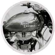 A Royal Enfield Motorbike Round Beach Towel