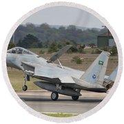 A Royal Saudi Air Force F-15c Landing Round Beach Towel