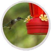 A Ruby-throated Hummingbird Round Beach Towel