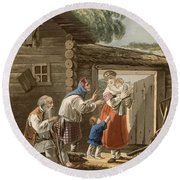 A Russian Peasant Family, 1823 Round Beach Towel