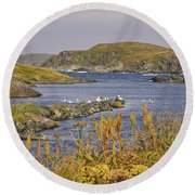 A Safe Harbor In Newfoundland Round Beach Towel
