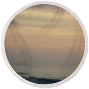 A Sailboat In The Morning Mist Round Beach Towel