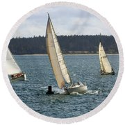A Sailing Yacht Rounds A Buoy In A Close Sailing Race Round Beach Towel