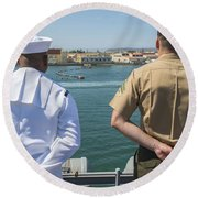 A Sailor And Marine Man The Rails Round Beach Towel by Stocktrek Images