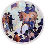 A Sale At Tattersalls, 1911 Round Beach Towel by Robert Polhill Bevan