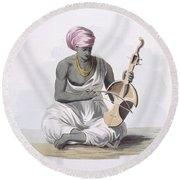 A Sarinda, Or Hindostan Type Violin Round Beach Towel