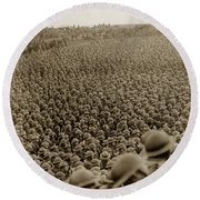 A Sea Of Helmets World War One 1918 Round Beach Towel