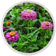 A Sea Of Zinnias 09 Round Beach Towel
