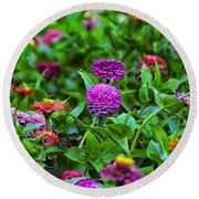A Sea Of Zinnias 14 Round Beach Towel