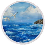 A Seagull's View George's Head Kilkee Co. Clare Round Beach Towel