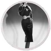 A Seductive Woman Round Beach Towel