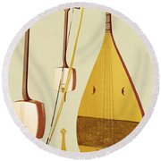 A Shamisen, A Kokyu And A Biwa Round Beach Towel