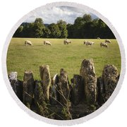 A Sheep's Field Round Beach Towel