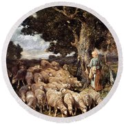 A Shepherdess With Her Flock Near A Stream Round Beach Towel