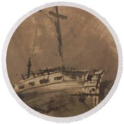 A Ship In Choppy Seas Round Beach Towel