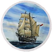 A Ship There Is Round Beach Towel