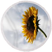 A Side Of Sunflower Round Beach Towel