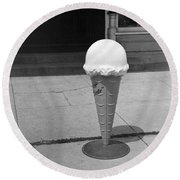 A Sidewalk Ice Cream Cone Round Beach Towel