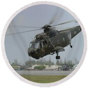 A Sikorsky S-61a4 Helicopter Round Beach Towel