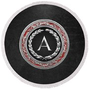 A - Silver Vintage Monogram On Black Leather Round Beach Towel
