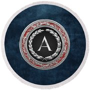 A - Silver Vintage Monogram On Blue Leather Round Beach Towel