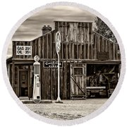 A Simpler Time 3 Monochrome Round Beach Towel