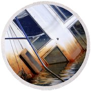 A Sinking Feeling Round Beach Towel