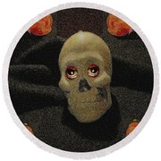 A Skull In The Dark Pop Art Round Beach Towel