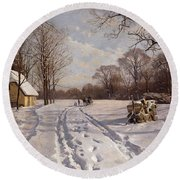 A Sleigh Ride Through A Winter Landscape Round Beach Towel by Peder Monsted
