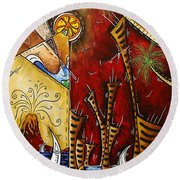 A Slice Of Paradise By Madart Round Beach Towel by Megan Duncanson