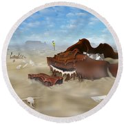 A Slow Death In Piano Valley Round Beach Towel