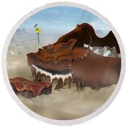 A Slow Death In Piano Valley - Panoramic Round Beach Towel