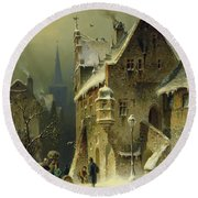 A Small Town In The Rhine Round Beach Towel