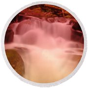 A Small Waterfall Along The Old North Cascade Highway  Round Beach Towel
