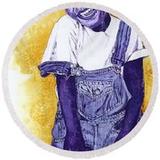 A Smile For You From Haiti Round Beach Towel by Margaret Bobb