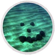 A Smiley Face Formed By Large Boulders Round Beach Towel